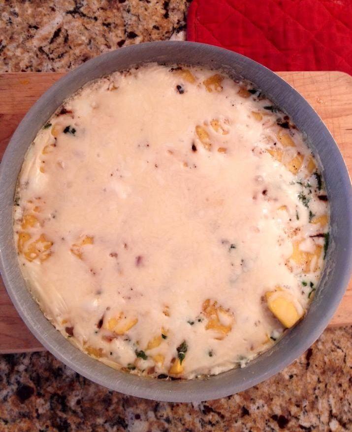 "Squash Frittata"" Saute 1 1/2 chopped tbsp onion, 1 cup thinly sliced ..."