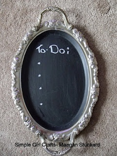 Simple Girl Crafts- chalkboard paint platter. Can hang on wall, or serve coffee on it.