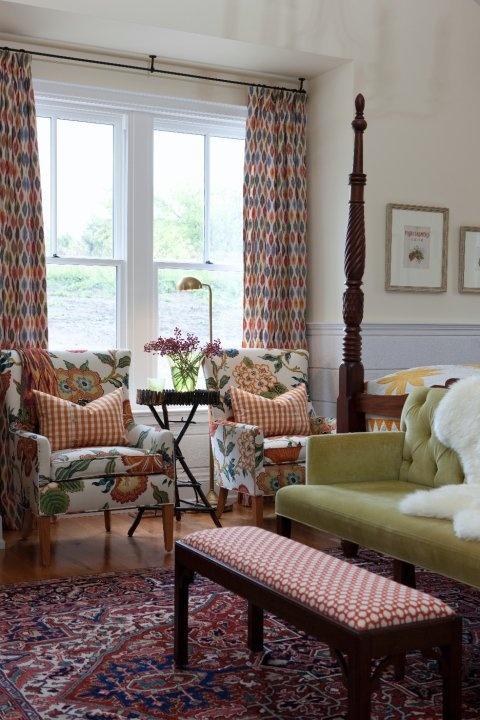 Armchair: Hot House Flowers in Spark, 174031. http://www.fschumacher.com/search/ProductDetail.aspx?sku=174031    Drapery: Sunara Ikat in Spice, 3471001. http://www.fschumacher.com/search/ProductDetail.aspx?sku=3471001    Bench: Betwixt in Spark / Ivory, 62612. http://www.fschumacher.com/search/ProductDetail.aspx?sku=62612 Pillows: Elton Cotton Check in Pumpkin, 63053. http://www.fschumacher.com/search/ProductDetail.aspx?sku=63053  Loveseat: Gainsborough Velvet  43258  Palm #Schumacher