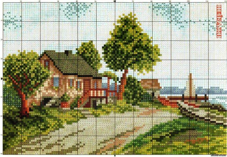 Схемы вышивки деревенских пейзажей 44