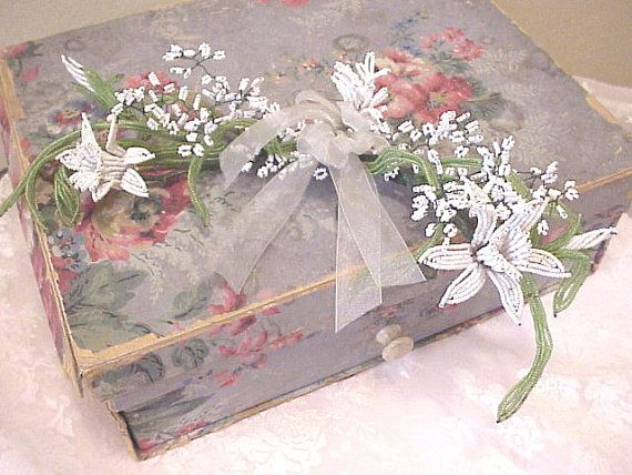Vintage wallpaper box with beaded flowers viaThe Porcelain Rose