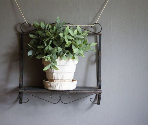 Vintage Wrought Iron Shelf, Wall Display, Garden Art, Organizer, Home…