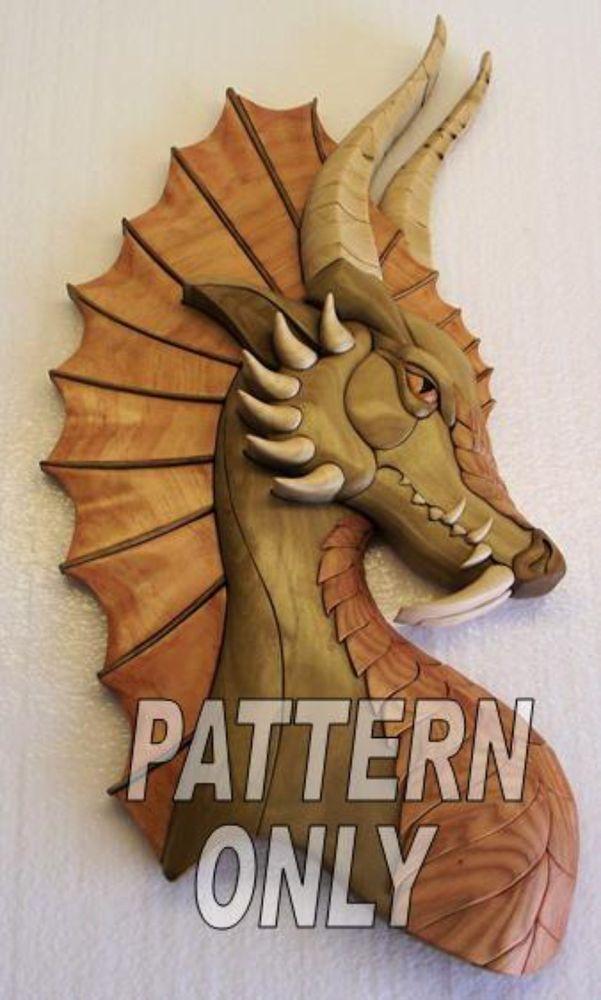 Intarsia wood pattern dragon w ear original