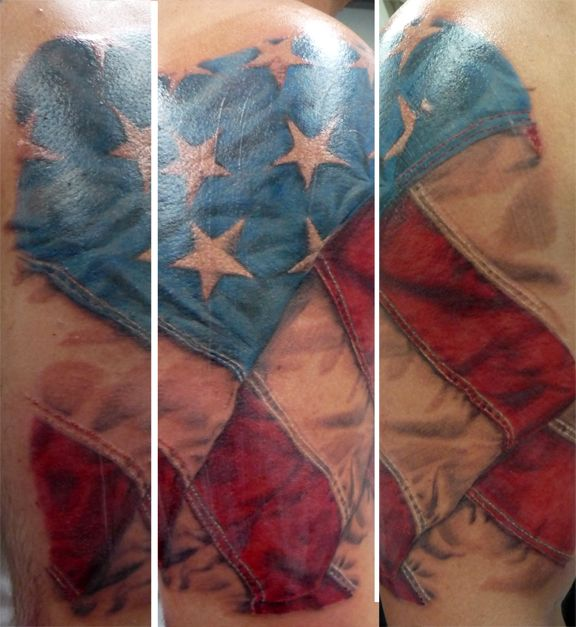 Realistic flag by fish whole addiction tattoo coral for Coral springs tattoo