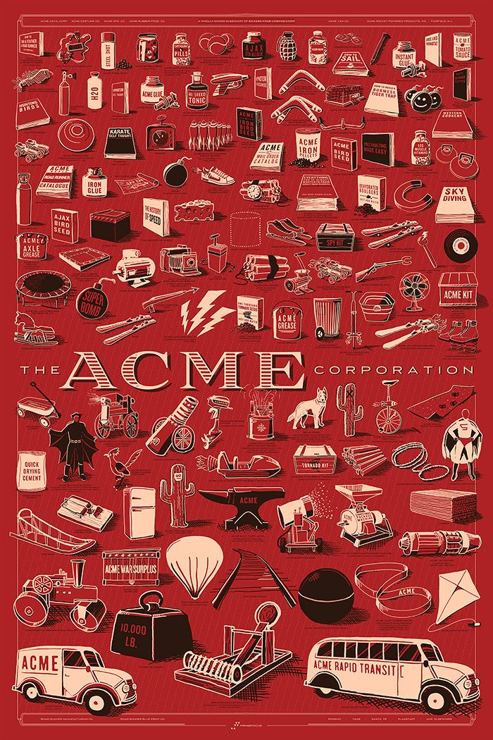 Every product from the ACME Corporation from Coyote & Road Runner cartoons by Rob Loukotka
