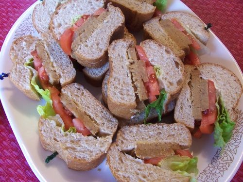 Gluten-free Lunch Meat (made from TVP, oat flour and refried beans)