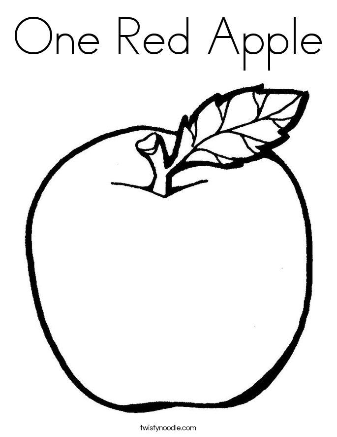 Apple Farm Coloring Pages : Red apple coloring page farm preschool module week