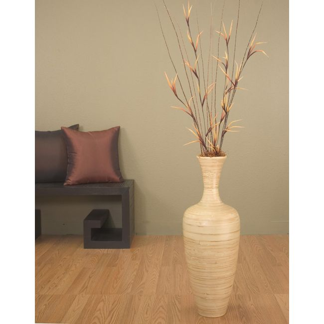 Natural bamboo 25 inch floral optional floor vase for Floor vase with flowers