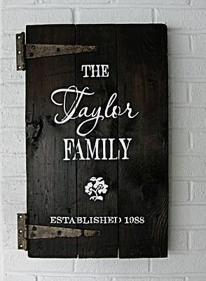 Family sign using a small door.