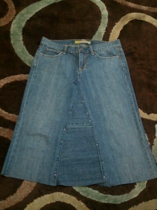 Jean skirt from old pair of jeans