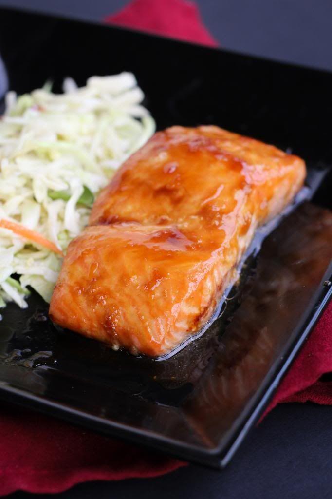 Ponzu Glazed Salmon w/Miso Slaw 13 Aug 2013 onceuponacuttingboard.com
