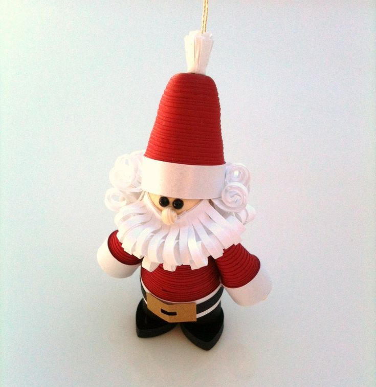 Santa Christmas Ornament Paper Quilled in Crimson Red with Curly Beard ...