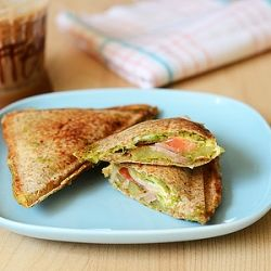 Veg grilled sandwich with potato, cheese, onion, tomato, cucumber and ...