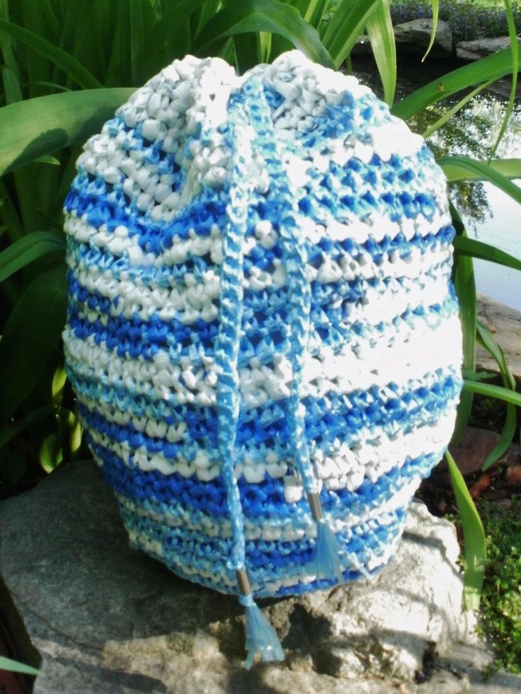 Crocheted plarn drawstring bag Plarn Pinterest