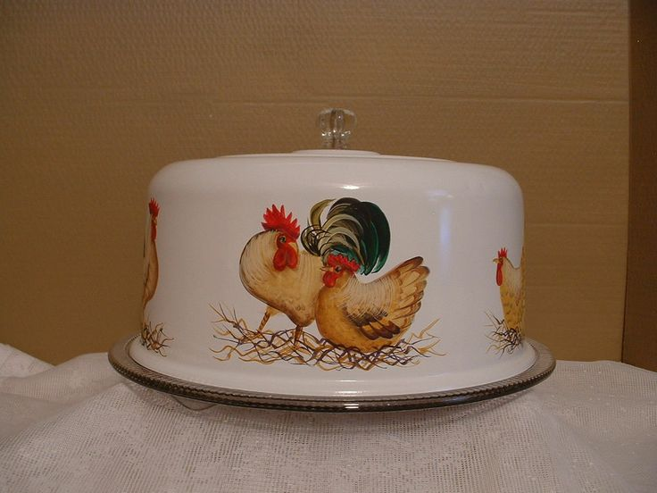 VINTAGE METAL CAKE COVER & PLATE ROOSTERS & HENS HAND PAINTED FOLK ART BY JMD