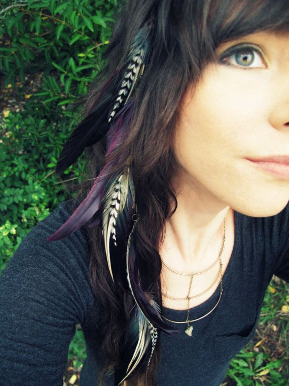 Feather Extension Hair Clip Purple Black And White Long