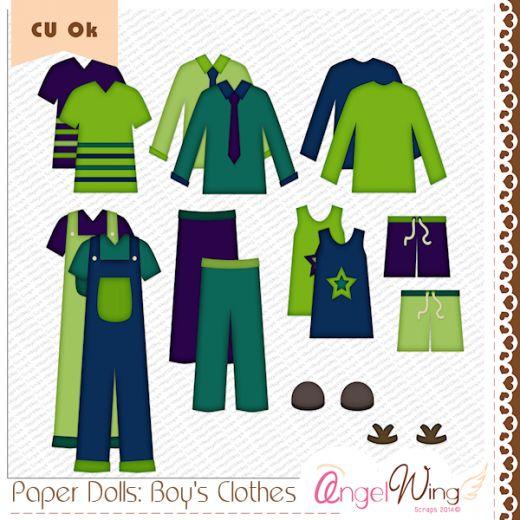 CU Paper Dolls: Boys Clothes Clip Art