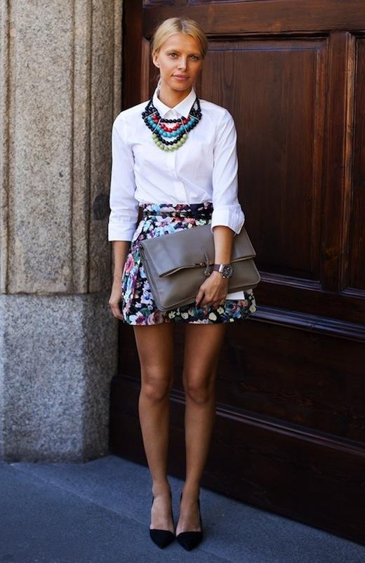 white shirt, big necklace