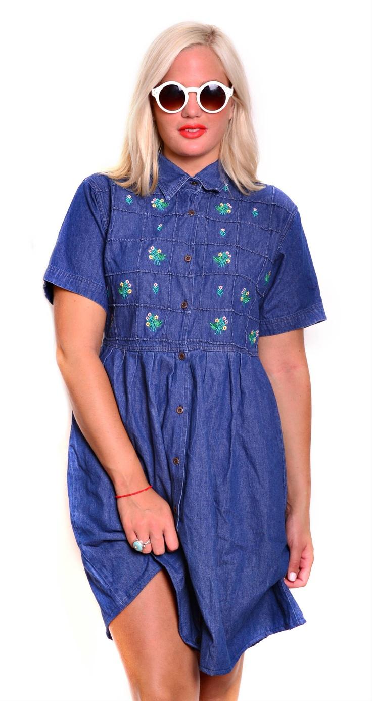 Vintage Denim Floral Shirt Dress $59