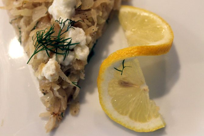 Greek Style Kohlrabi Pizza with Goat Cheese & Dill. We altered it ...