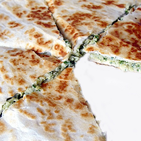 Artichoke Quesadillas with basil, polanos and pepper jack cheese