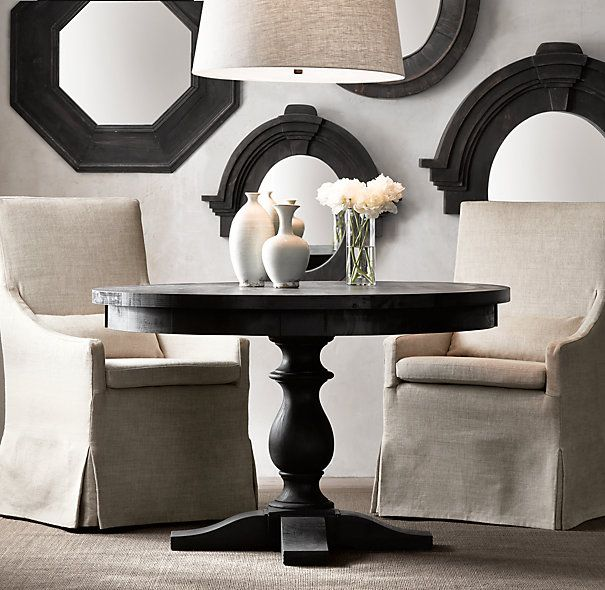 17th c monastery round dining table from rh chef 39 s for Restoration hardware round mirror