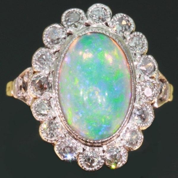 vintage opal engagement ring diamonds 18k gold opals