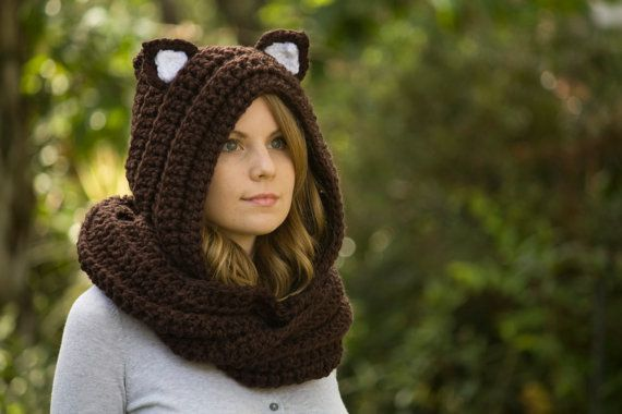 Crochet Pattern Hooded Scarf With Ears : Cat Scarf, Brown Scoodie with Cat Ears, Hooded Scarf ...