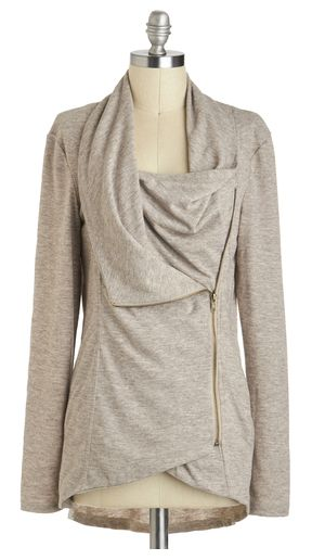 Cozy gray cardigan with zipper detail. Come on fall!!!  http://rstyle.me/n/nnrrsn2bn