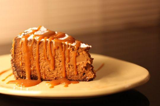 Chocolate Caramel Cheesecake with Chocolate Wafer Base