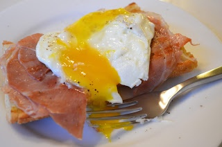 The Dieting Doughgirl: Open Faced Prosciutto and Egg Sandwich