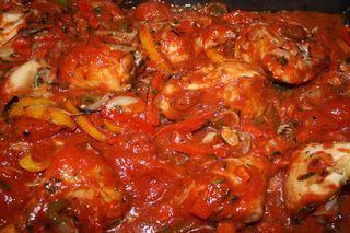 """Traditional chicken alla cacciatore (""""hunter-style"""" chicken) is ..."""