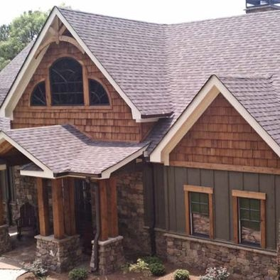 Hardi siding with cedar and stone mixed my one day home for Rustic board and batten homes