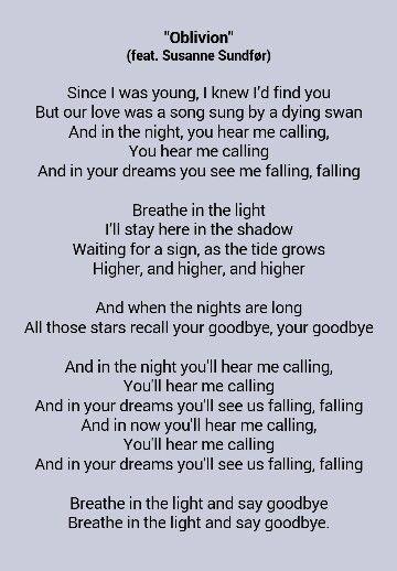 lyrics of oblivion bastille