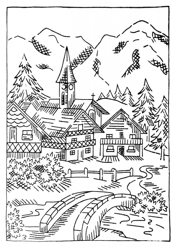 cottage coloring pages - photo#11