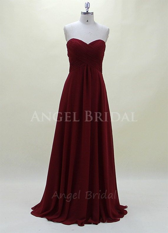Dark red bridesmaid dress chiffon bridesmaid dress long for Dark red wedding dress