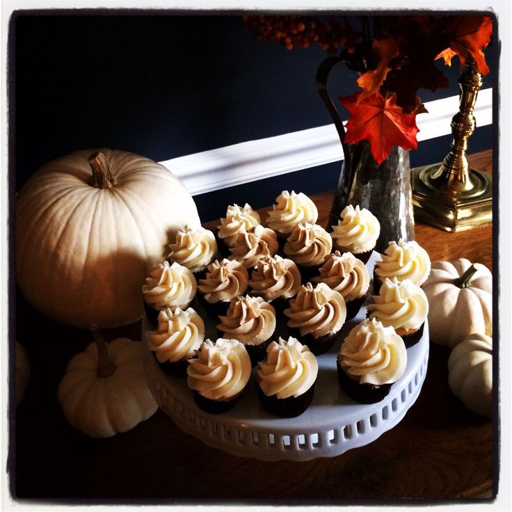 Fall cupcakes. Double Chocolate cake topped with pumpkin spice swiss ...
