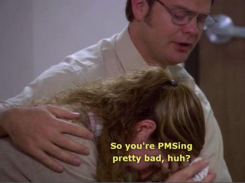 Dwight comforts Pam, sort of?