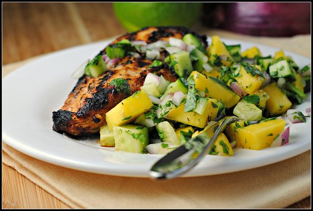 Jamaican Jerk Chicken with Mango Salsa | Yummy in the ...
