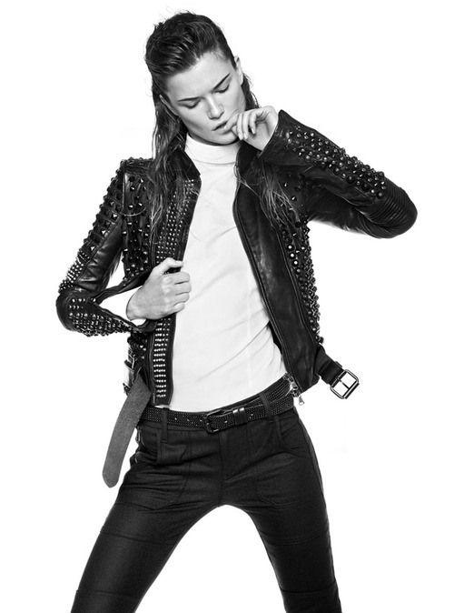 white turtleneck, black leather jacket, black pants