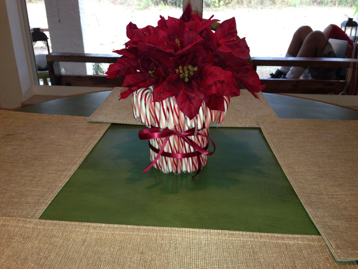 Candy cane centerpiece christmas centerpieces pinterest for Candy cane holder candle centerpiece