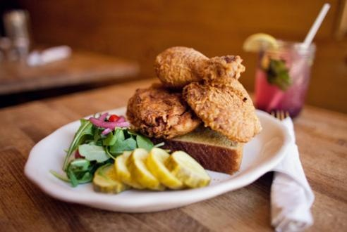 Spicy Hot chicken at PEACHES HOTHOUSE ( Brooklyn. 415 Tompkins Ave at ...