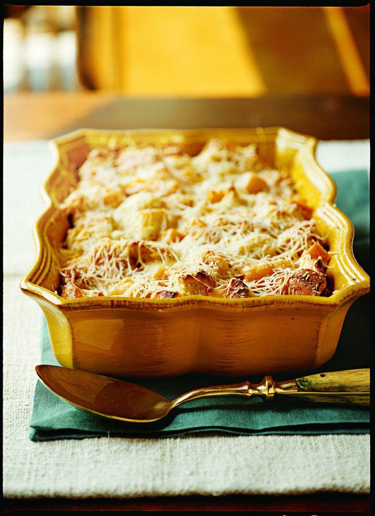 Savory Butternut Squash & Parmesan Bread Pudding - Veggie Thanksgiving ...