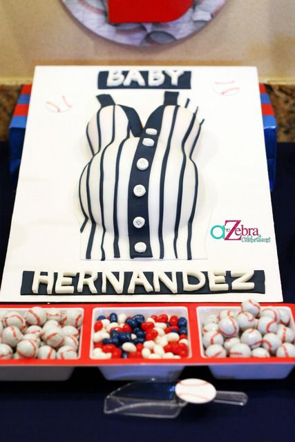 Baseball Themed Baby Shower: Adorable Baseball Jersey Baby Bump Cake