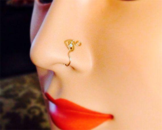 bijou fish nose cuff faux nose ring thin nose ring gold