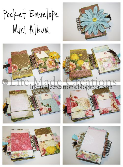 "TUTORIAL - POCKETS. How to create the Pockets (from business sized envies) for the ""Envelope Mini Album"". These pics show a finished & decorated Mini Album!"