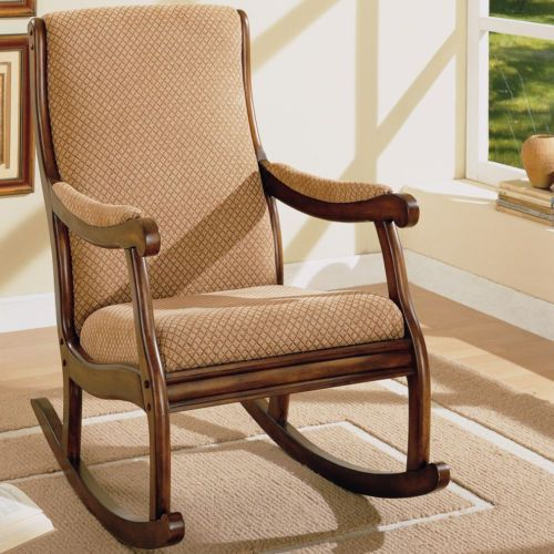 Cushioned dark oak rocking chair wood rocker upholstered room arms