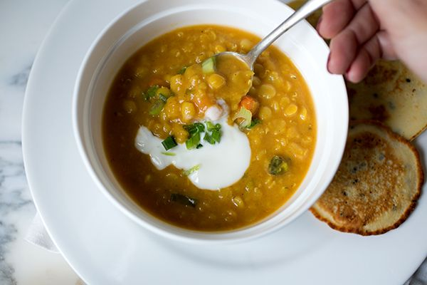 Coconut Red Lentil Soup and Socca - A Stack of Dishes