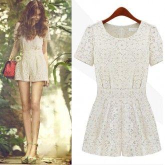 Designer Style Lace White Jumpsuit Women
