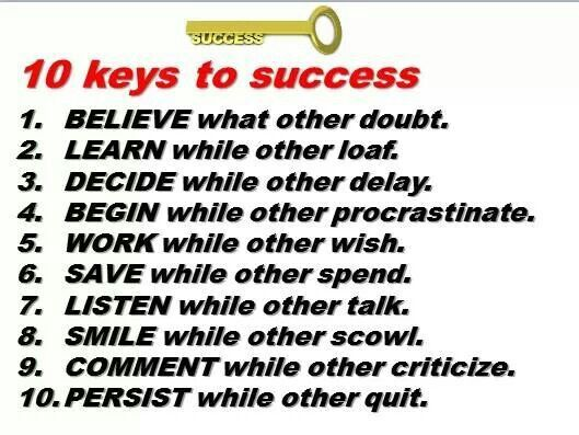 10 keys to success in life comes